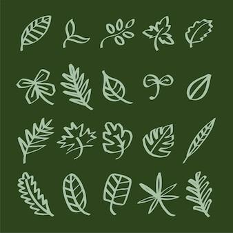 Collection of leaf doodles illustration