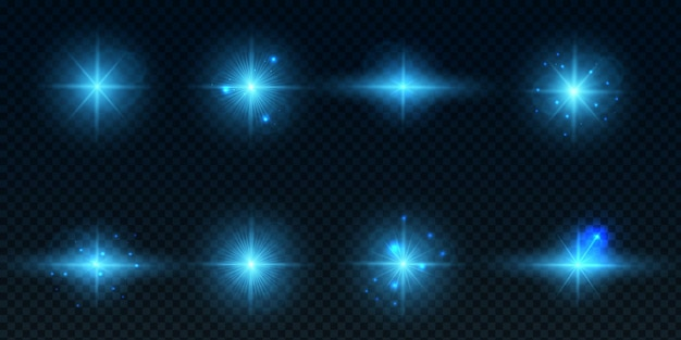 Collection of lens flares with blue lenses