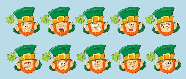 Collection of leprechaun for saint patricks design. vector illustration.