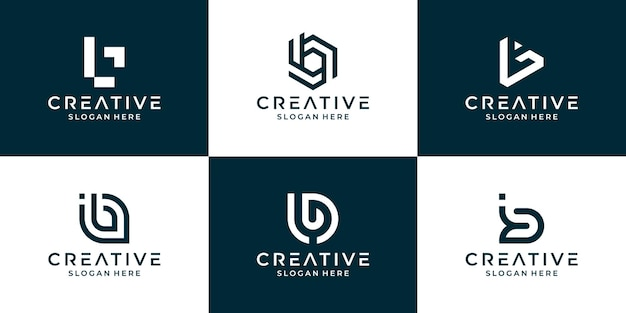 Collection of letter b with abstract design for business