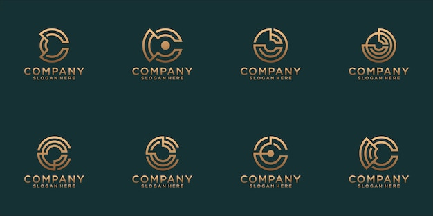 A collection of letter c logo designs in abstract gold color. modern minimalist flat for business