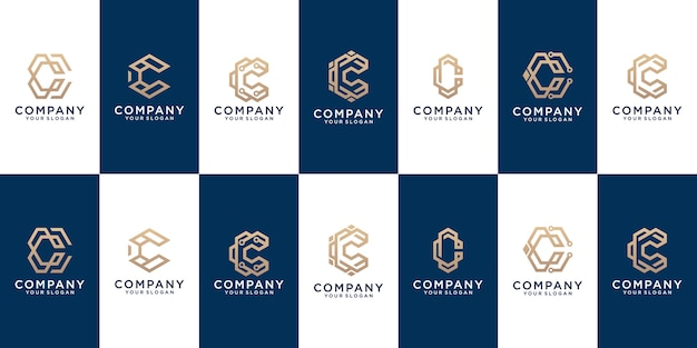 A collection of letter c logo designs in abstract gold color