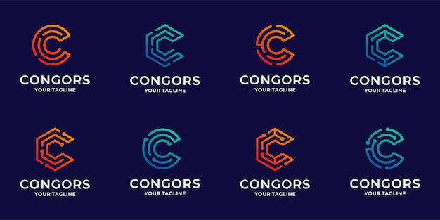 Collection of letter c logo icon bundle  inspiration template
