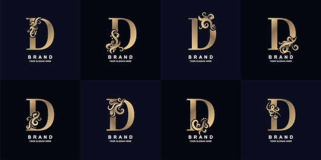 Collection letter d logo with luxury ornament design