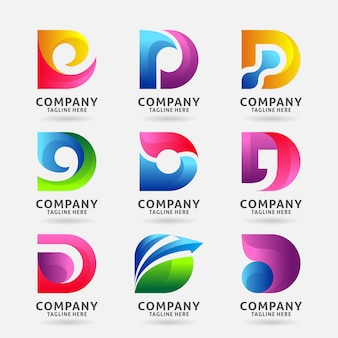 Collection of letter d modern logo template design
