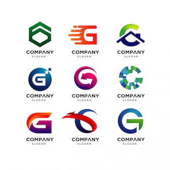 Collection of letter g logo design templates