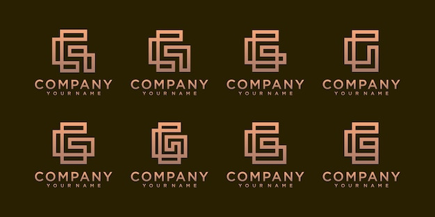 A collection of letter g logo designs in abstract gold color.