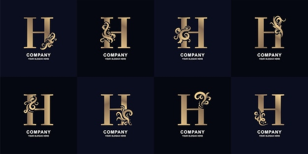 Collection letter h logo with luxury ornament design