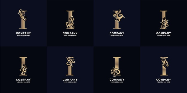 Collection letter i logo with luxury ornament design