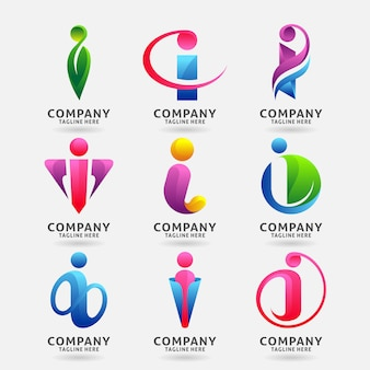 Collection of letter i modern logo template design