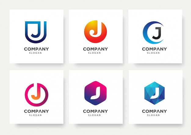 Collection of letter j logo design template