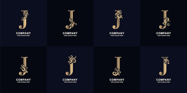 Collection letter j logo with luxury ornament design