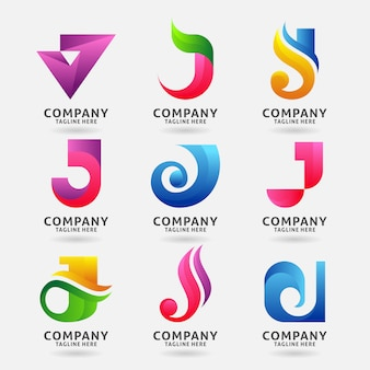 Collection of letter j modern logo template design