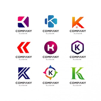 Collection of letter k logo design templates