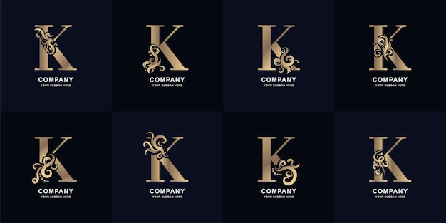 Коллекционное письмо k логотип с роскошным дизайном орнамента
