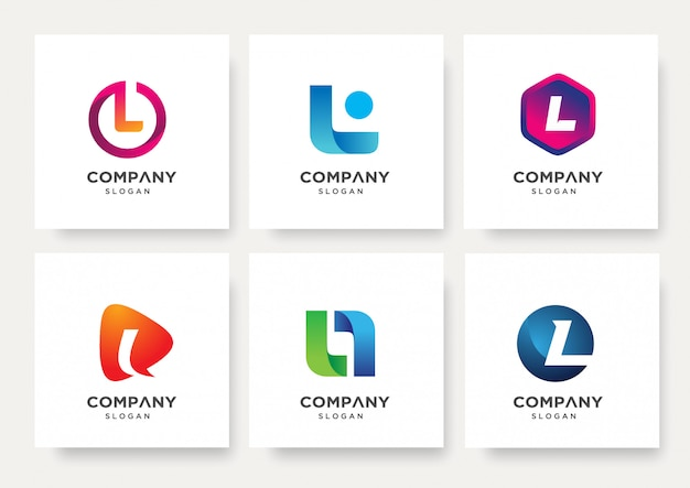 Collection of letter l logo design template