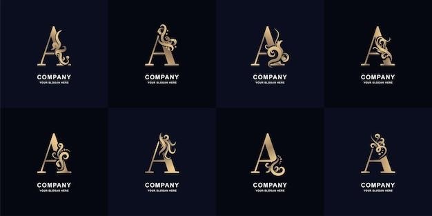 Collection letter a logo with luxury ornament design