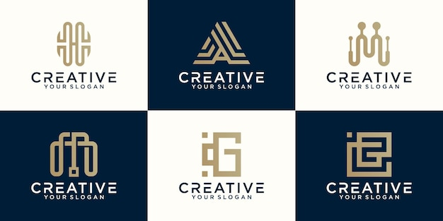 Collection of letter logos with line styles and golden color