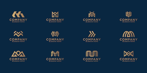 A collection of letter m logo designs in abstract gold color. modern minimalist flat for business