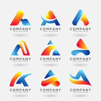 Collection of letter a modern logo template design