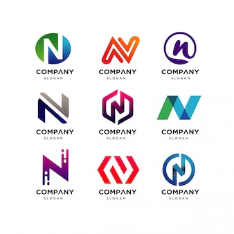 Collection of letter n logo design