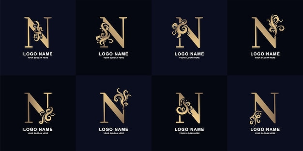 Collection letter n logo with luxury ornament design