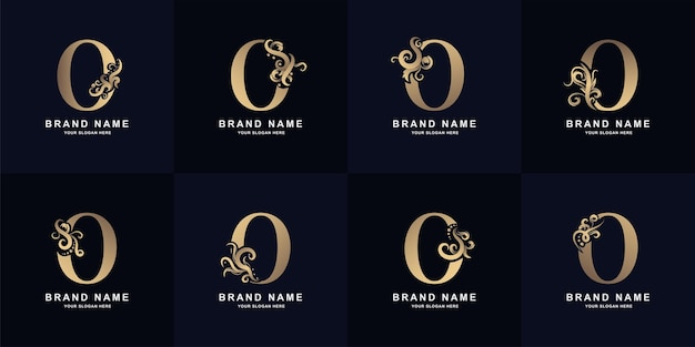 Collection letter o logo with luxury ornament design