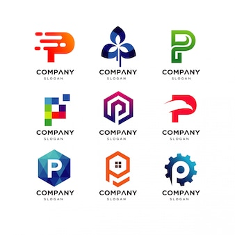 Collection of letter p logo design templates