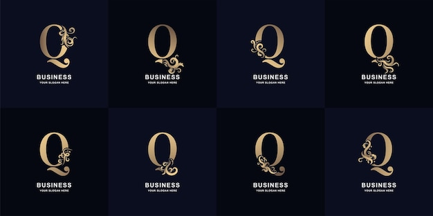 Collection letter q logo with luxury ornament design