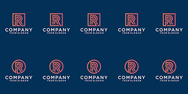 A collection of letter r logo designs in abstract gold color. modern minimalist flat for business