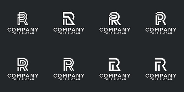 A collection of letter r logo designs in abstract white color. modern minimalist flat for business