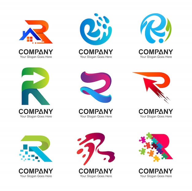 Collection of letter r logo in various variations