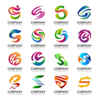 Collection of letter s logo in various variations