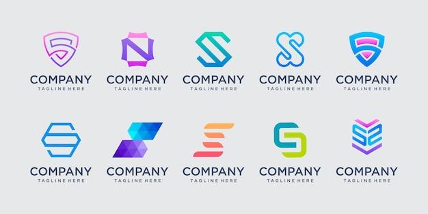 컬렉션 편지 s ss 로고 아이콘 패션 디지털 기술 비즈니스를 위한 디자인 설정