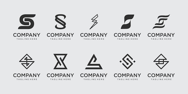Коллекционное письмо s ss логотип набор иконок для бизнеса моды спорт автомобильный