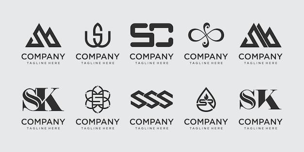 패션 스포츠 럭셔리 비즈니스를 위한 컬렉션 편지 s ss 로고 아이콘 세트 디자인