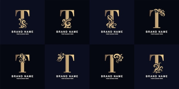 Collection letter t logo with luxury ornament design