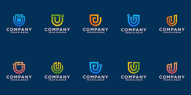 A collection of letter u logo designs in abstract technology modern minimalist flat for business