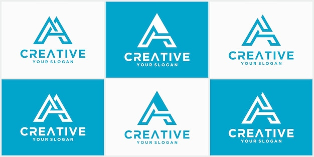 A collection of letter a vector line logo designs. creative minimalist logotype icon symbol. a logo in blue color