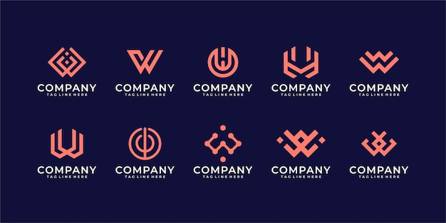 Collection letter w inspiration logo template