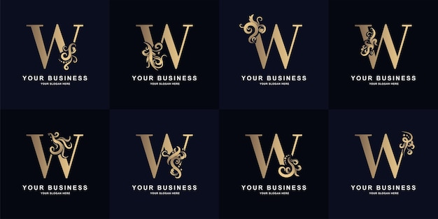 Collection letter w logo with luxury ornament design