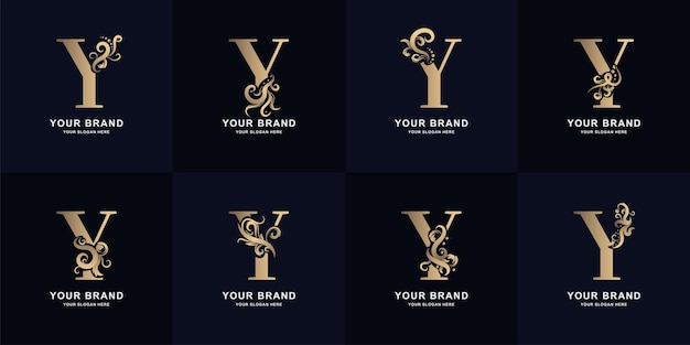 Collection letter y logo with luxury ornament design