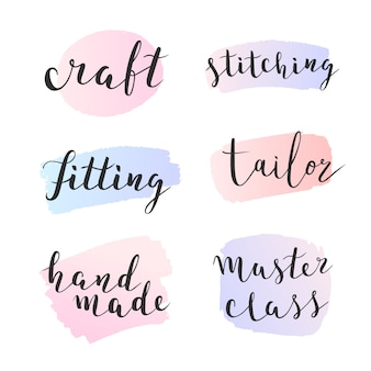 Collection of lettering phrases with paint strokes for sewing and other crafts