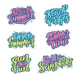 Collection of lettering summer badges