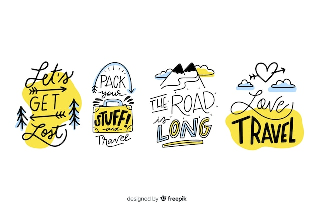 Collection of lettering travel badges