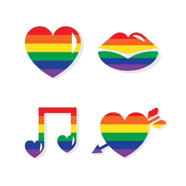 Collection of lgbt valentines day icons