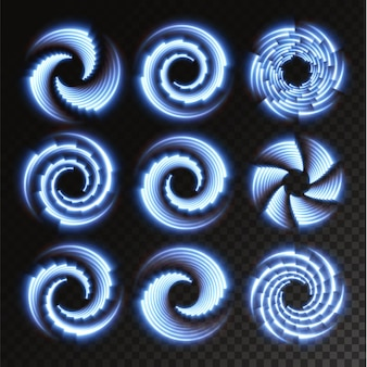 Collection of light blue halftone lines radial blue vector lines of speed vector illustration
