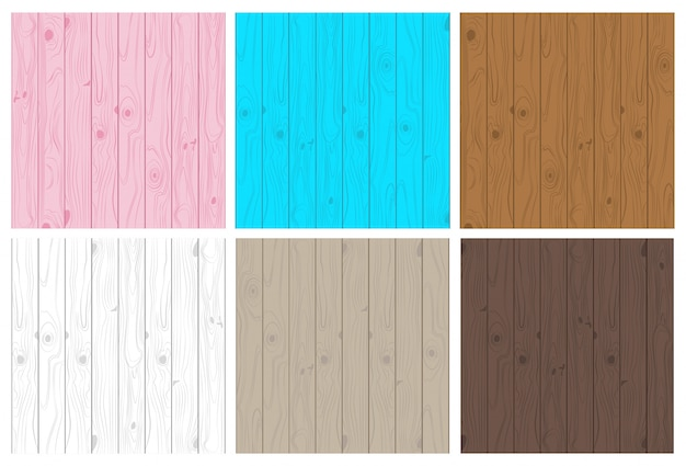 Collection of light and dark wooden texture seamless pattern set