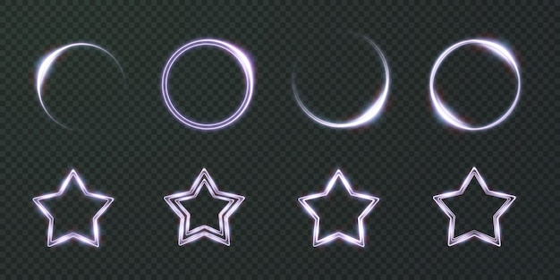 Collection of light star neon frames circle oval star