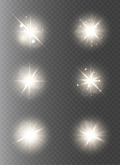 Collection of lights and stars on transparent background
